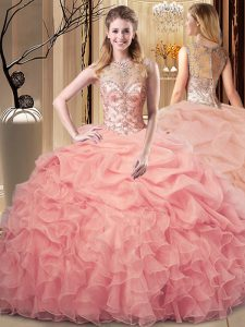 Latest Peach Quince Ball Gowns Sweet 16 and Quinceanera with Beading and Ruffles Scoop Sleeveless Zipper