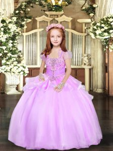 Ball Gowns Pageant Dress Wholesale Lilac Straps Organza Sleeveless Floor Length Lace Up