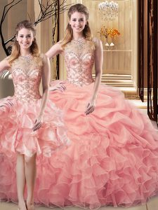 Peach Organza and Tulle Lace Up 15th Birthday Dress Sleeveless Floor Length Beading and Ruffles