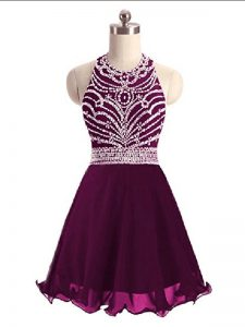 Custom Fit Purple Lace Up Evening Dress Beading Sleeveless Mini Length