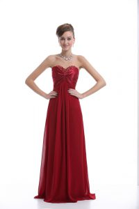 Dazzling Wine Red Chiffon Lace Up Dress for Prom Sleeveless Floor Length Beading