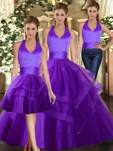 Stunning Halter Top Sleeveless Tulle Sweet 16 Dresses Ruffles Lace Up