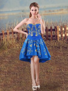 On Sale Royal Blue Sweetheart Lace Up Embroidery Prom Evening Gown Sleeveless