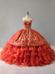 Orange Red Ball Gowns Satin and Organza Sweetheart Sleeveless Embroidery and Ruffles Floor Length Lace Up Quinceanera Gown