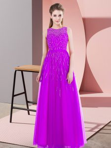Empire Prom Gown Purple Scoop Tulle Sleeveless Floor Length Side Zipper