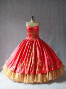 Glamorous Coral Red Sleeveless Floor Length Embroidery Lace Up Sweet 16 Quinceanera Dress