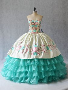 Aqua Blue Satin and Organza Lace Up Ball Gown Prom Dress Sleeveless Floor Length Embroidery and Ruffled Layers