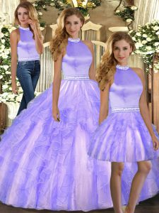 Lavender Sleeveless Beading and Ruffles Floor Length Quinceanera Dress