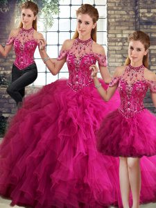 Shining Fuchsia Lace Up Sweet 16 Dresses Beading and Ruffles Sleeveless Floor Length