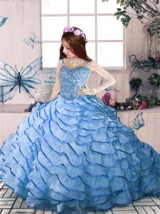 Blue Organza Lace Up Straps Sleeveless Floor Length Pageant Dress Toddler Court Train Beading and Ruffled Layers
