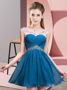 Pretty Scoop Sleeveless Evening Dress Mini Length Beading Blue Chiffon