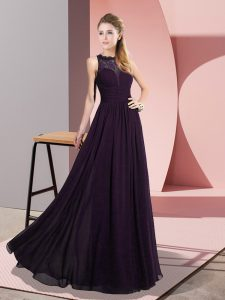 Dark Purple Scoop Zipper Lace Sleeveless