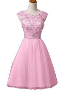 Mini Length Baby Pink Tulle Sleeveless Beading