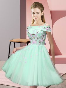 Knee Length Empire Short Sleeves Apple Green Bridesmaid Dresses Lace Up