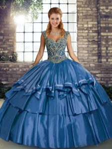 Popular Blue Straps Neckline Beading and Ruffled Layers Ball Gown Prom Dress Sleeveless Lace Up