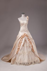 Superior One Shoulder Sleeveless Satin Quince Ball Gowns Embroidery and Hand Made Flower Brush Train Lace Up