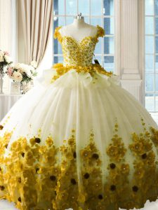 Sleeveless Hand Made Flower Zipper Quinceanera Gowns with Olive Green Brush Train
