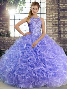 Floor Length Lavender Sweet 16 Dresses Fabric With Rolling Flowers Sleeveless Beading