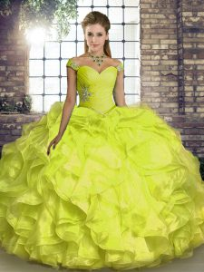 Off The Shoulder Sleeveless Lace Up Vestidos de Quinceanera Yellow Organza