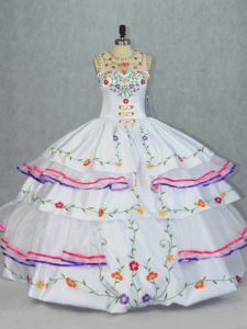 White Sleeveless Embroidery and Ruffled Layers Floor Length Sweet 16 Quinceanera Dress