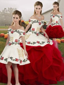 Top Selling Floor Length White And Red Sweet 16 Dress Tulle Sleeveless Embroidery and Ruffles