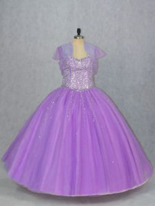 Sleeveless Tulle Floor Length Lace Up Ball Gown Prom Dress in Lavender with Beading