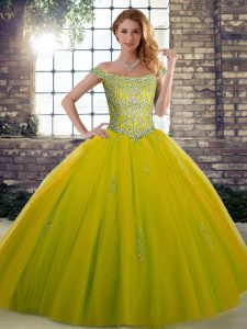 Cute Off The Shoulder Sleeveless Lace Up Vestidos de Quinceanera Olive Green Tulle
