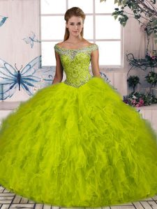 Best Olive Green Off The Shoulder Lace Up Beading and Ruffles 15 Quinceanera Dress Brush Train Sleeveless