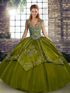 Custom Made Olive Green Tulle Lace Up Straps Sleeveless Floor Length Sweet 16 Dress Beading and Embroidery