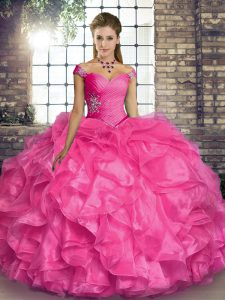 Hot Pink Sleeveless Beading and Ruffles Floor Length Ball Gown Prom Dress