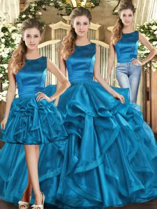 Fine Floor Length Lace Up Quinceanera Dresses Teal for Military Ball and Sweet 16 and Quinceanera with Ruffles