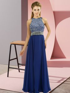 Colorful Scoop Sleeveless Prom Gown Floor Length Beading Blue Organza