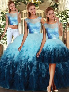 Fashion Multi-color Three Pieces Scoop Sleeveless Tulle Floor Length Lace Up Lace and Ruffles 15 Quinceanera Dress