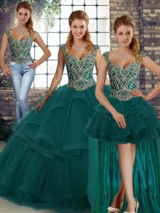 Dazzling Peacock Green Three Pieces Beading and Ruffles Sweet 16 Dress Lace Up Tulle Sleeveless Floor Length
