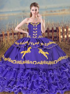Sleeveless Organza Brush Train Lace Up 15th Birthday Dress in Purple with Embroidery and Ruffled Layers