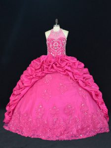 Edgy Ball Gowns Sleeveless Hot Pink Vestidos de Quinceanera Lace Up