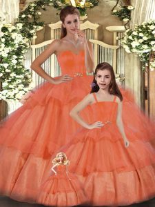 Orange Organza Lace Up Sweetheart Sleeveless Floor Length 15 Quinceanera Dress Ruffled Layers