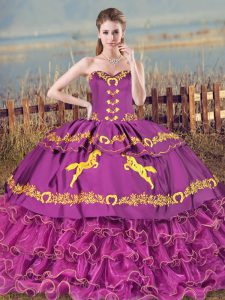 Shining Sleeveless Embroidery and Ruffles Lace Up Quinceanera Dresses with Purple Brush Train