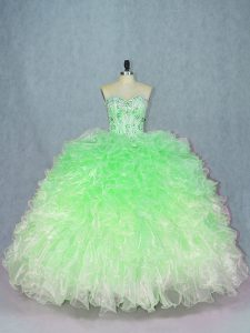 Dazzling Multi-color Sleeveless Organza Lace Up Sweet 16 Dresses for Sweet 16 and Quinceanera