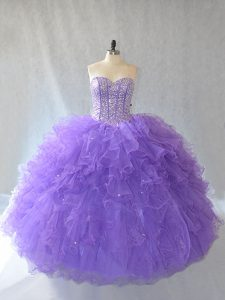 Shining Lavender Sleeveless Tulle Lace Up Sweet 16 Dresses for Sweet 16 and Quinceanera
