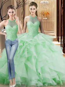 Halter Top Sleeveless Brush Train Lace Up Sweet 16 Dress Apple Green Organza