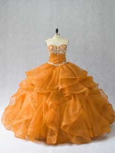 Floor Length Lace Up Quinceanera Dress Orange for Sweet 16 and Quinceanera with Beading and Ruffles