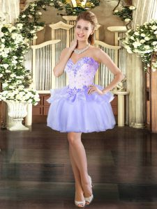 Shining Lavender Sweetheart Neckline Beading Prom Evening Gown Sleeveless Lace Up