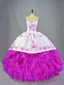 Superior Sweetheart Sleeveless Organza Sweet 16 Quinceanera Dress Beading and Embroidery and Ruffles Brush Train Lace Up
