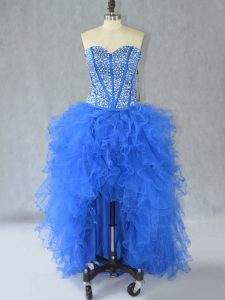 Blue A-line Organza Sweetheart Sleeveless Beading and Ruffles High Low Lace Up Prom Evening Gown