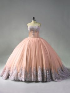 Graceful Peach Quince Ball Gowns Sweet 16 and Quinceanera with Beading and Appliques Sweetheart Sleeveless Court Train Lace Up