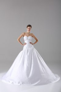Fine White Lace Up Wedding Dress Beading Sleeveless Brush Train