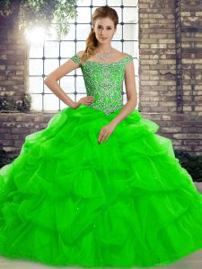 Ball Gowns Sleeveless Green Quince Ball Gowns Brush Train Lace Up