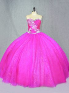 Fuchsia Ball Gowns Beading 15 Quinceanera Dress Lace Up Tulle Sleeveless Floor Length