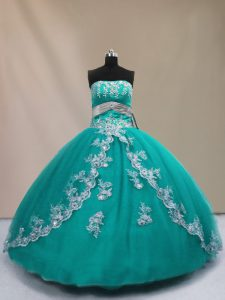 Turquoise Ball Gowns Tulle Strapless Sleeveless Appliques Floor Length Lace Up Ball Gown Prom Dress